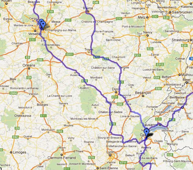 The Map: Paris to Geneva